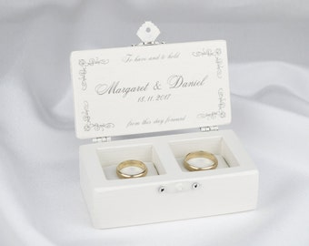 Wedding Ring Box, Ring Bearer Box, Love Birds Ring Box in White