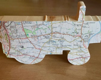 Map fowler engine, wooden showmans carriage gift, wooden map art. Personalised with a map of your choice. Steam engine. Fair wagon