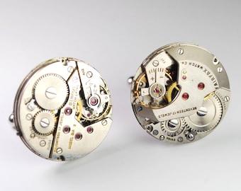 Steampunk Cufflinks - Large Vintage Swiss Watch Movement Mens Gear Cuff Links by Steampunk Vintage Design