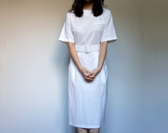 80s White Dress Pockets Short Sleeve Button Back Office Secretary Simple Day Dress - Large Extra Large L XL