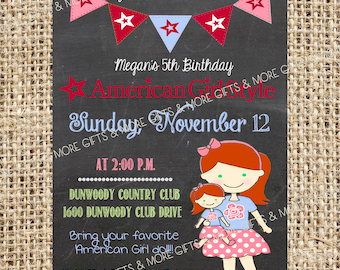 American Girl Red Hair with Green Eyes***Party PRINTABLE PERSONALIZED INVITATION***