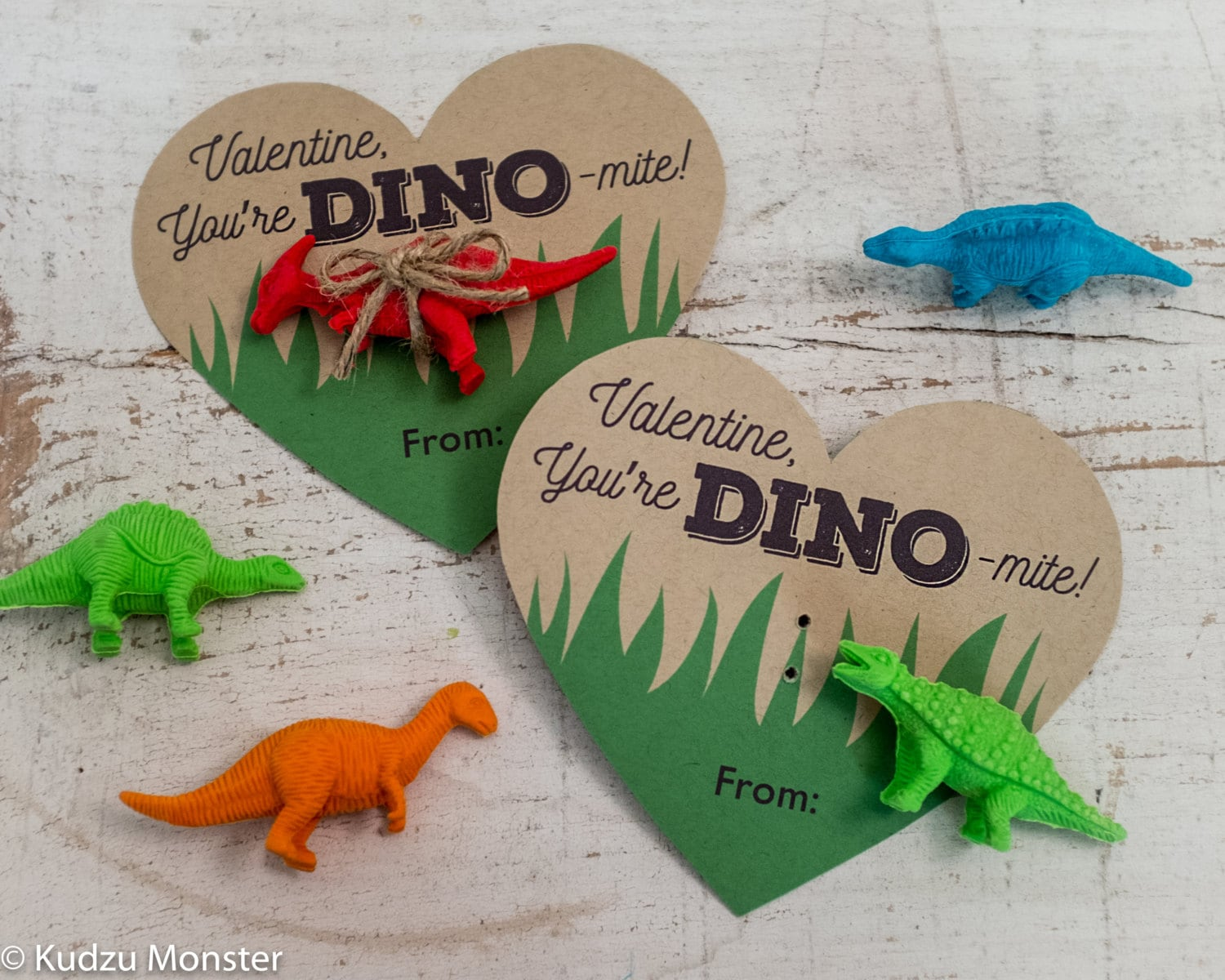 printable dinosaur valentines hearts for small dinosaur toy or