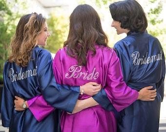 Bridesmaid Robe -  Rhinestone Robes - Bride Robe - Bridesmaid Gifts - SATIN Bridal Bridesmaid Robes