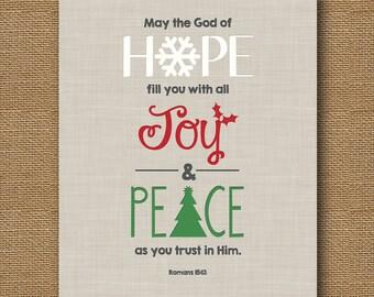 Instant Download | Christmas Letterpress Effect Bible Verse Wall Art | DIY PRINTABLE | Scripture 8x10 | Romans 15:13 | Hope, Joy & Peace