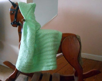 Hand Knit Hooded Baby Blanket