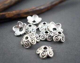 10 pcs - Cup, spiral flower bead Cap - silver - Bohemian, ethnic - 10mm x 3mm