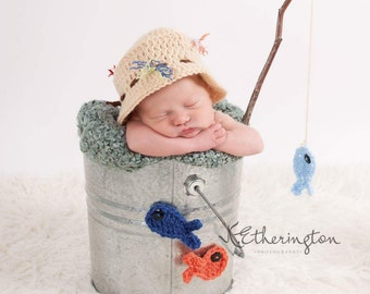 Newborn Fishing Photo Prop, Fishing Buddy, Newborn Photo Prop Set, Fishing Hat, Baby Fishing Hat, Newborn Fishing Hat, Baby Fisherman Hat