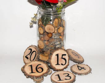 Wood slice Table Numbers ~ 1-15 Table Numbers ~ Tree Slice Table Numbers ~ Rustic Decoration ~ Wedding Decoration ~ Rustic Table numbers