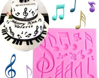 Music Notes Silicone Mold Set - Baking Fondant Soap Chocolate Candy Jelly Musical Base Treble Score