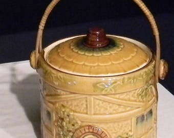 Vintage Japanese bucket with lid and bamboo handle