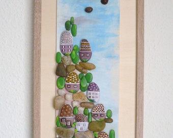 Pebble wall art, pebble image, Italy