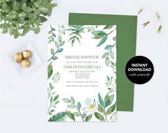 BRIDAL SHOWER INVITATION Greenery, Bridal Shower, Bridal Shower Invite, Shower Invitation Template pdf Printable Invitation, Customizable