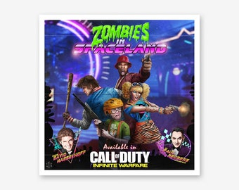 Call of Duty Zombies Gift for Men Zombies in Spaceland Zombies Map Framed Art Poster