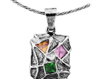Silver Pendant, Multi colored CZ pendant, Gemstone pendantl, Sterling silver, handmade