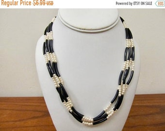 On Sale Vintage Black and Faux Pearl Multi Strand Necklace Item K # 1505