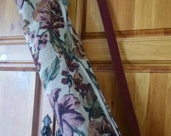 Vintage Floral Yoga Mat Tote Bag