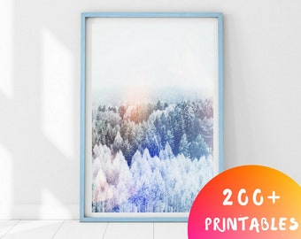 Minimalist Forest Art, Scandinavian Forest, Forest Printable Print, Abstract Forest Art, Snow Forest Print, Winter Forest Art, Foggy Forest