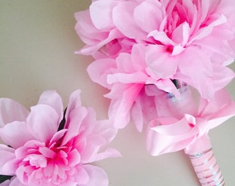 Eye Candy Pink Dahlia Peonies Wedding Prom Wrap Bouquet Flower Arrangement with matching boutonniere