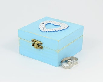 Wedding Ring Box Ring Bearer Pillow Blue White Wooden ring box Wedding Ring Dish Proposal Engagement Holder Custom Ring Box Heart ring box