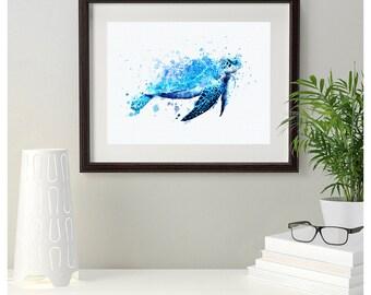 Sale off blue sea turtle watercolor art print digital file