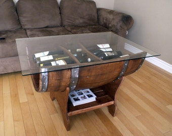 Reversible Reclaimed Half Wine Barrel Table With Tempered