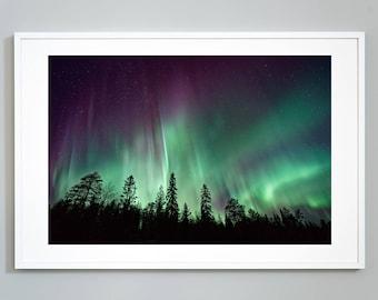 Aurora Borealis Art Print, Northern Lights Night Sky, Colors Of The Sky Museum Quality Photo Art Print