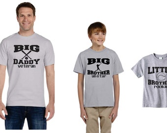 Baseball Theme T-shirt Trio Big Brother, Little Brother And Dad, Gift Ideas For Dad, Custom Gifts, Custom Shirts, Set Of Three Graphic Tees