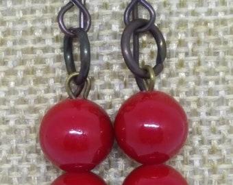 Lipstick red Earrings ... Handmade... UK artist