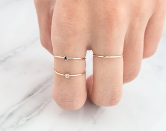 Black Diamond Ring, Engagement Ring, Solitaire Ring, Diamond Ring, Stacking ring, solid gold ring,14k diamond ring, Birthstone ring