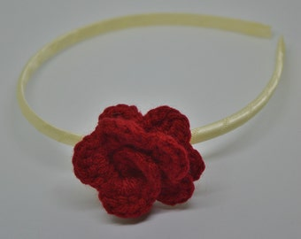 Crochet Rosette Headband - Red Rosette on an Ivory Satin Wrapped Headband