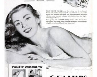 1946 Coby Whitmore Pin Up Girl General Electric GE Lamps Lightbulbs Ad Vintage Illustration Tanning Salon Decor Sun Light Retro Spa Wall Art