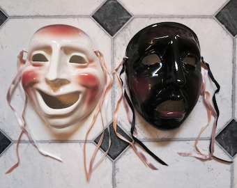 TWO Clay Art Ceramic Face Masks,  Comedy and Tragedy Drama Wall Decor