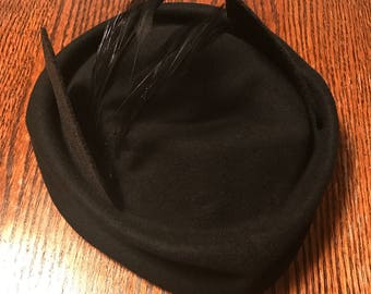 Bombshell Catwoman Cosplay Fascinator Hat with Cat Ears and Feathers