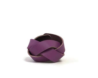 Braided Leather Cuff in Radiant Orchid