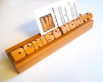 Cherry Wood Desk Name and Business Card Holder, Custom Carved to Order
