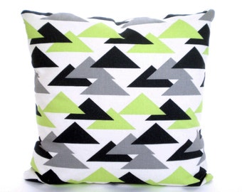 Green Charcoal Gray Pillow Covers, Decorative Throw Pillows, Cushions, Kiwi Green Grey Charcoal White Geometric Jacklyn, One ALL SIZES