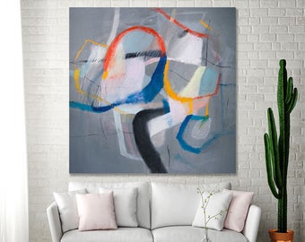 ABSTRACT PAINTING Print Large Colorful canvas print up to 40x40 abstract art Grey painting with blue by Duealberi
