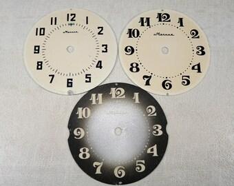 Vintage Alarm Clock Faces - Metal table clock faces - Round watch dials - set of 3 - c111