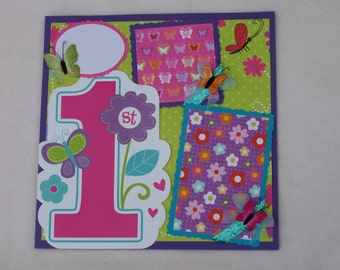 First Birthday Girl Butterflies Flowers 1st Garden Spring 12x12 Premade Scrapbook Page by KARI