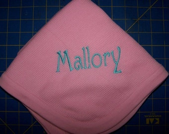 Personalized baby receiving blanket pink blue white