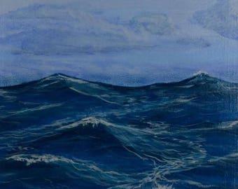 Ocean waves, sea, waves, miniature paintings, acrylic, 10x15cm, blue, white, original painting, handmade