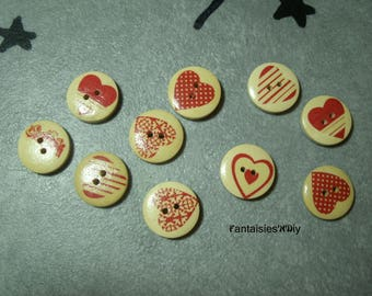 (BTB5) Set of 5 wooden hearts dyed 20mm red dot buttons
