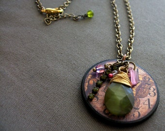 Ephemera Wood Charm with Wire Wrapped Green Drop and Shiny Accent Necklace