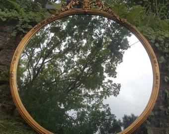 Vintage Round Gold Mirror, Vintage Mirror, Antique Mirror, Wall Decor, Mirror,Round Mirror,Home Decor,French Style