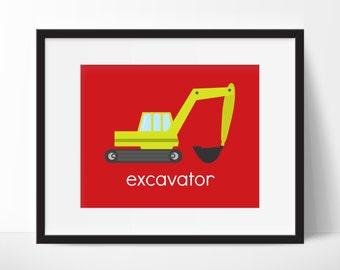 Construction Room Decor, Construction Truck Wall Art, Boys Bedroom, Excavator Print, Construction Nursery Art, Children Wall Art