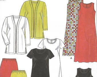New Look 6764 Full Figure Easy Dress, Top, Jacket And Skirt Pattern, Size 18W-26W, UNCUT