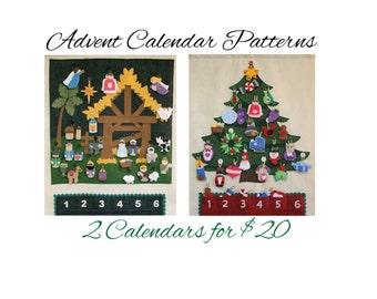 2 for 20 Advent Calendar Patterns • Nativity & Christmas Tree • Save 8 Bucks!