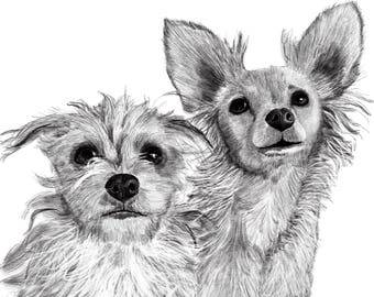 "2 Pet Portraits, 2 Custom Pet Portraits, Buy me and Send Photo - 8""x10"" print and JPG & PDF file-Example here"