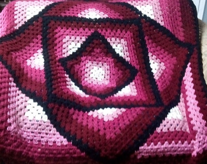 """50""""x 50"""" Crocheted Blanket, """"Square In A Square Afghan"""""""