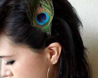 eye peacock feather hair clip - boho peacock hair accessory - bohemian feather fascinator - bridesmaid hair accessory - women's gift - SARAH
